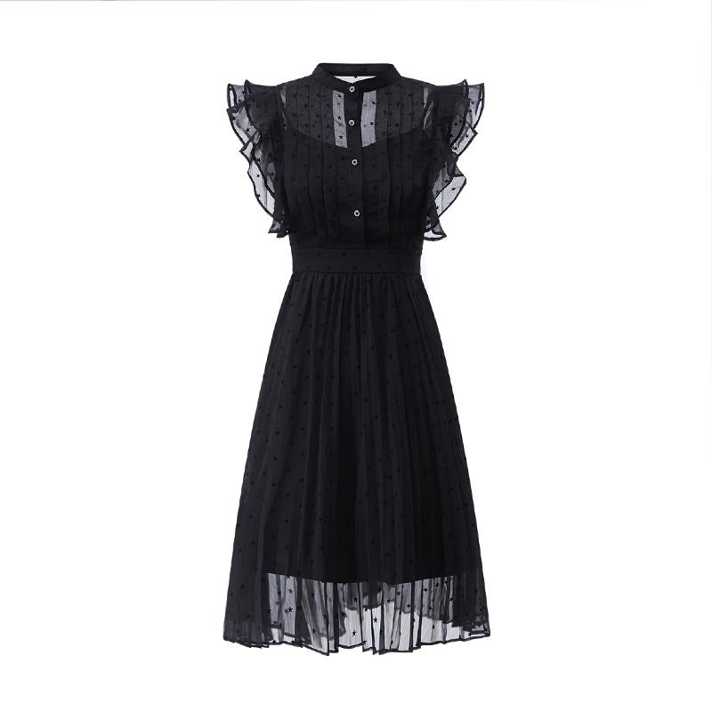 AUI赫本风黑色立领荷叶边连衣裙女夏2021新款名媛气质雪纺小黑裙