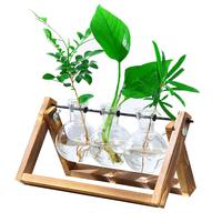创意木架水培绿萝玻璃花瓶容器盆办公室内桌面绿植现代摆件装饰品