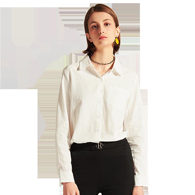 白色衬衫女长袖城市格调2019夏装新款宽松设计感职业上衣休闲衬衣