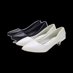 百搭三釐米3公分小跟鞋單鞋女矮根中低跟性感白色d夏季2019年新款