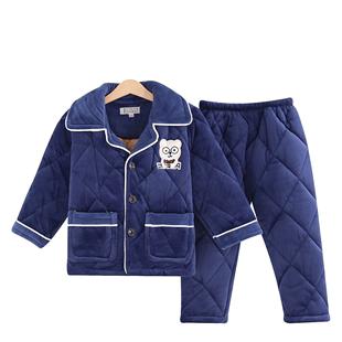 儿童男童加厚款法兰绒水晶绒睡衣