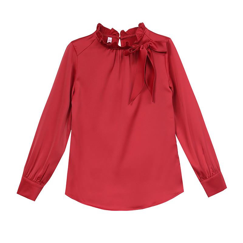 红色雪纺衬衫女长袖2020春装新款蝴蝶结洋气大码打底内搭上衣小衫
