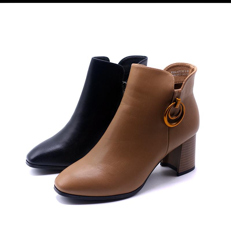 珂卡芙秋冬新款女靴子女短筒靴子马丁靴英伦风百搭粗跟高跟短靴秒
