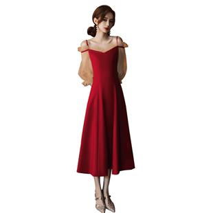 敬酒服新娘2020新款秋冬季長袖小個子訂婚連衣裙酒紅色平時可穿女