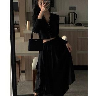 小八同學黑色花邊針織開衫女秋季新款vintage復古短款長袖外套