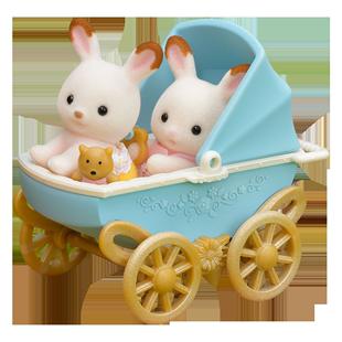 森貝兒家族森林巧克力兔雙胞胎傢俱套女孩仿真玩具動物玩偶配件