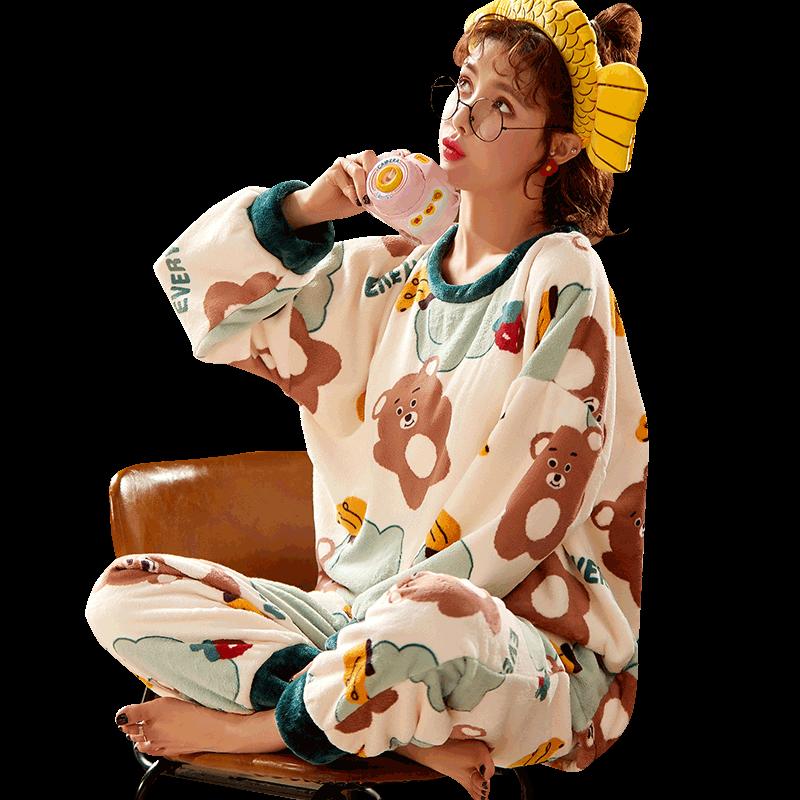 睡衣女秋冬季珊瑚绒长袖卡通女士法兰绒加厚春秋款学生家居服套装