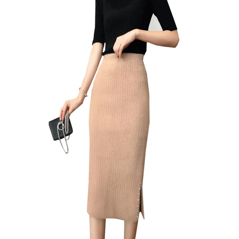 水貂绒半身裙女秋冬加厚针织包臀裙中长款毛线裙一步裙长裙子冬裙