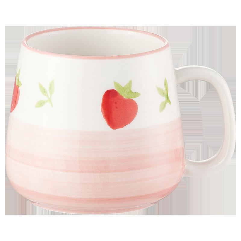 马克杯陶瓷杯子创意水杯潮流女可爱少女家用牛奶早餐杯手作草莓