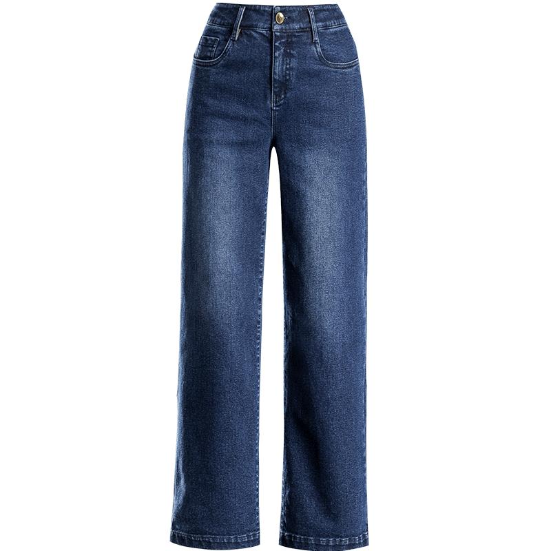 蓝色阔腿牛仔裤女宽松2020秋季新款高腰大码显瘦弹力直筒休闲女裤