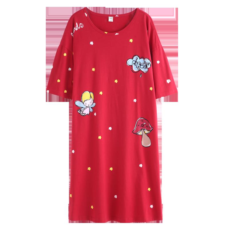 达尔丽新款睡裙女夏纯棉短袖