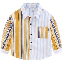 男童长袖条纹2021款秋季男女童衬衫