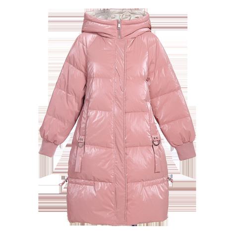 纯色连帽羽绒服女中长款2019冬季新款韩版白鸭绒保暖羽绒外套蓝色