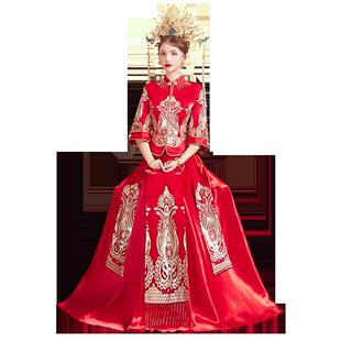 秀禾服新娘2020新款婚紗中式中國風秀和服出閣服紅色敬酒服禾秀服