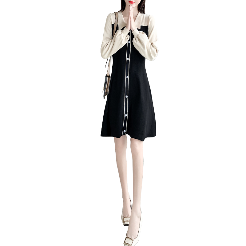 Polo领连衣裙2019新款秋冬季女装学院风小个子甜美针织宽松短裙子