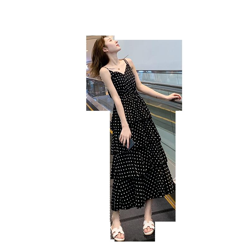 吊带连衣裙2019新款夏波点裙子女小清新过膝雪纺流行夏天蛋糕长裙