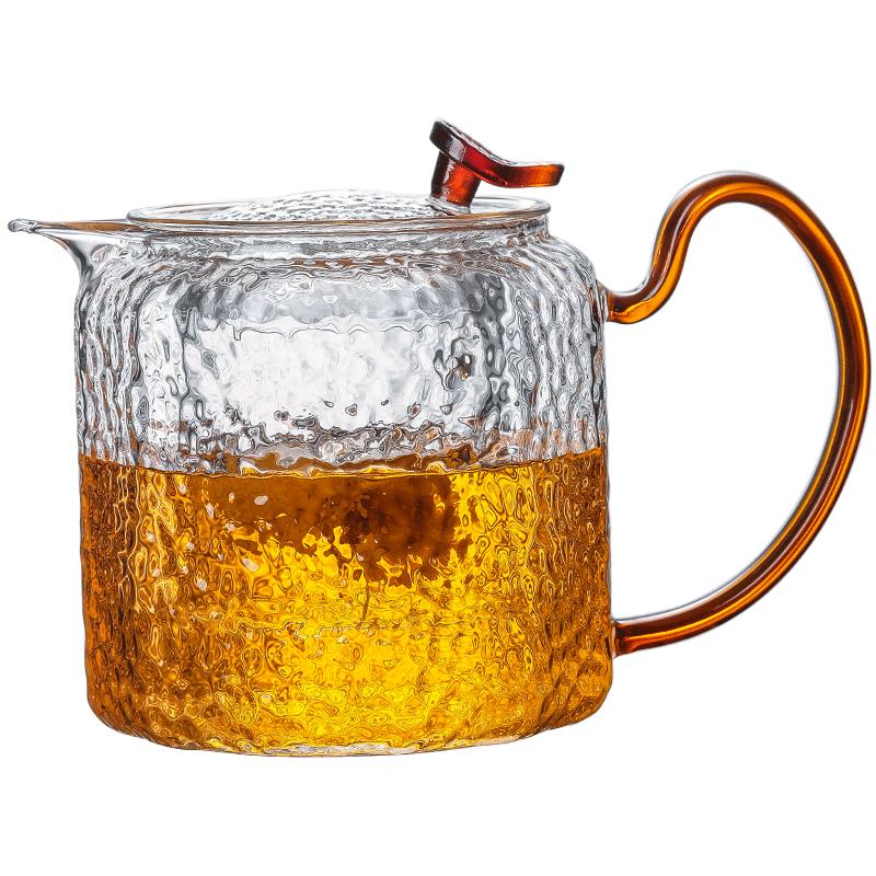 锤纹壶玻璃茶壶单壶泡茶壶耐高温家用煮茶过滤花茶壶功夫茶具套装