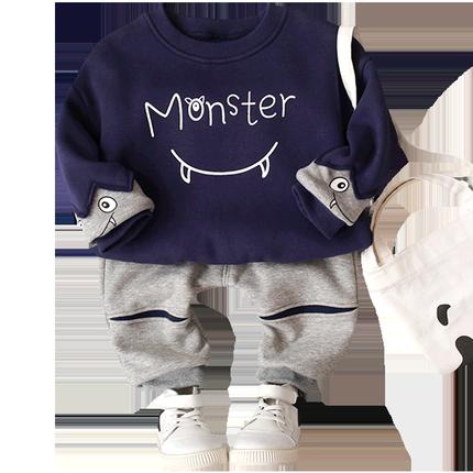 乐努比男童0-1-2-3-4岁绒套装时尚