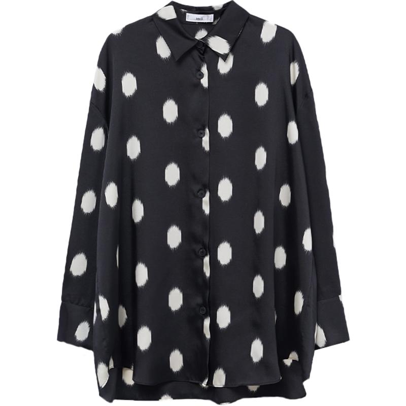 MANGO女装衬衫2021春夏新款印花宽大飘逸面料印花设计衬衫