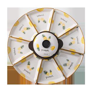 網紅拼盤創意套裝組合盤子陶瓷餐盤家用過年圓桌擺盤扇形菜盤餐具