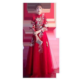 敬酒服新娘2020新款旗袍中國風孕婦中式訂婚結婚禮服遮肚子秀禾服