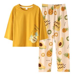 春秋纯棉七分袖九分裤长裤睡衣