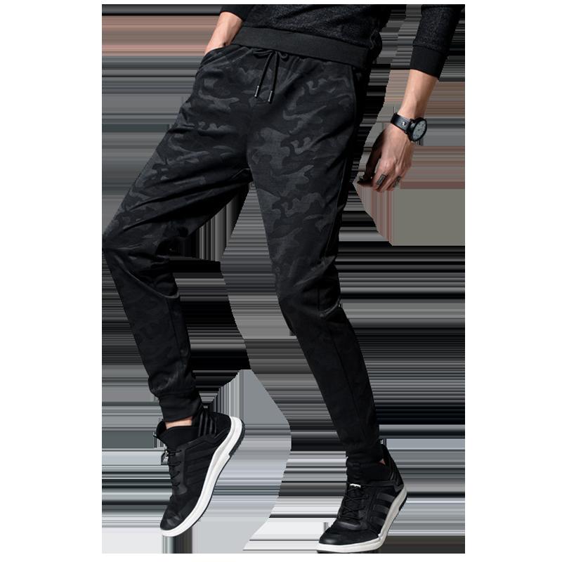 夏季新款运动裤子宽松潮流迷彩裤男士束脚修身个性时尚大码休闲裤