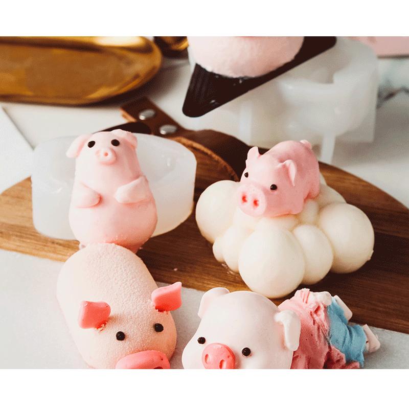 抖音网红3D立体口水猪慕斯模具硅胶模diy自制小猪布丁果冻冰淇淋
