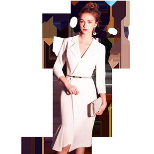 晚禮服裙女2020新款平時可穿宴會名媛小個子氣質白色主持人連衣裙