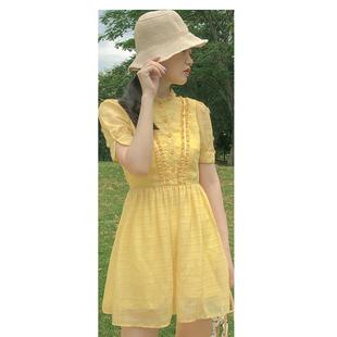 法式小眾超仙森系連衣裙淡黃長裙收腰顯瘦150cm小個子甜美初戀系