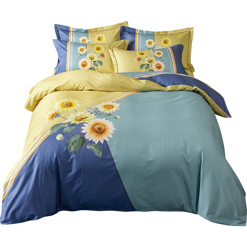 罗霓欧全棉四件套纯棉套件床单床笠款1.8m床单双人被套床上用品网上购物优惠券