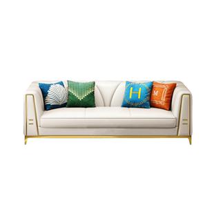 後現代輕奢沙發組合123 意式簡約大小户型客廳三人位組合真皮沙發
