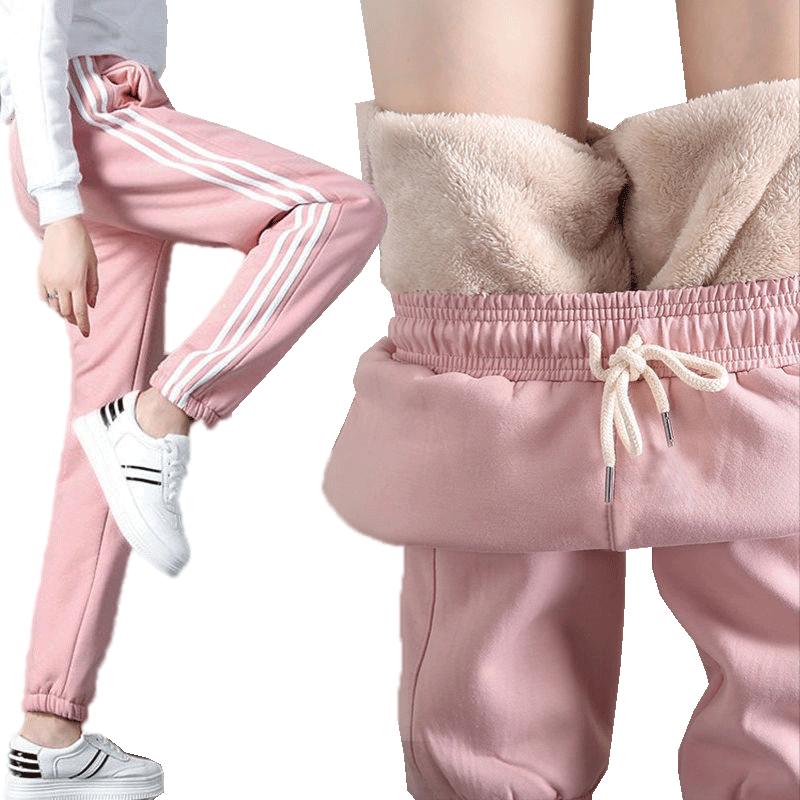 加绒加厚羊羔绒裤子女韩版运动卫裤哈伦裤