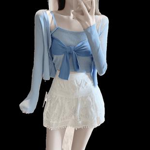 蝴蝶結針織開衫小外套+吊帶背心女神範網紅洋氣氣質兩件套裝女夏