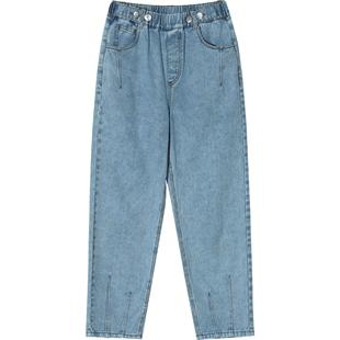 妖精的口袋直筒牛仔褲女2020夏季新款bf風歐貨老爹褲寬鬆哈倫褲潮