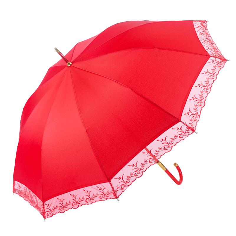 好梦喜庆结婚伞新娘伞大红色红伞出嫁用长柄蕾丝复古高档婚庆雨伞