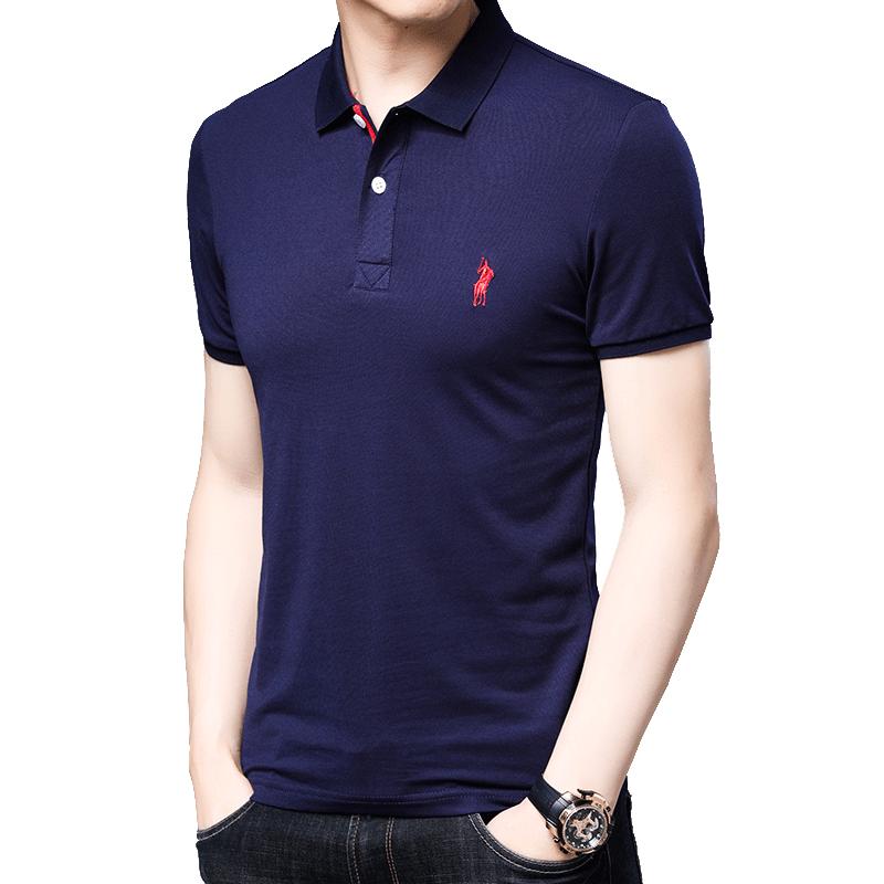 男士纯棉刺绣修身夏季新款潮流翻领T恤