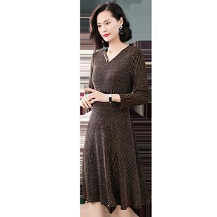 秋装新品连衣裙洋气金丝50针织裙子