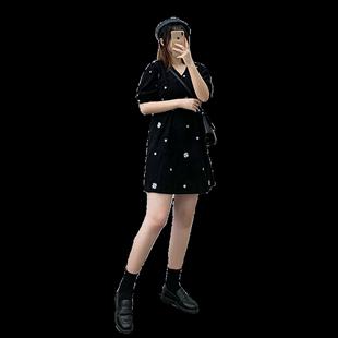 小雛菊印花胖妹妹mm法式赫本風V領收腰A字大碼泡泡袖碎花連衣裙女