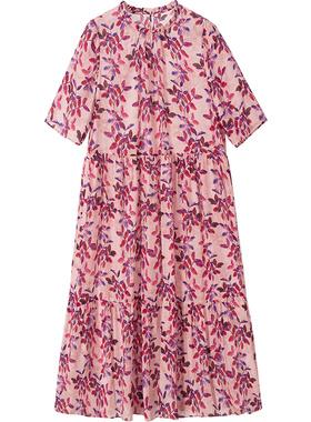 真丝桑蚕丝连衣裙女2021新款夏季年轻款碎花宽松大码海边度假裙子