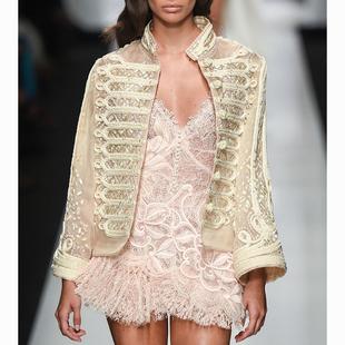 重工高級定製長袖小上衣女宮廷復古防曬刺繡真絲軍裝風薄短款外套