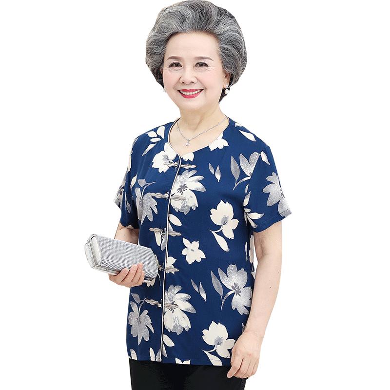 奶奶装夏装短袖老年人老太太套装