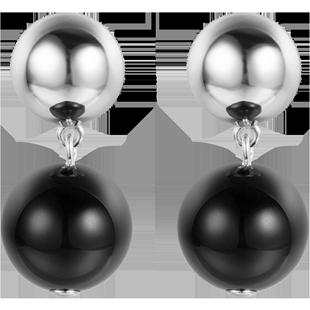 簡約冷淡風氣質黑瑪瑙純銀設計感耳飾小眾玫瑰金耳墜女耳環耳釘