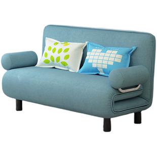 多功能北歐實木伸縮沙發牀兩用單人布藝可摺疊雙人客廳坐卧小户型