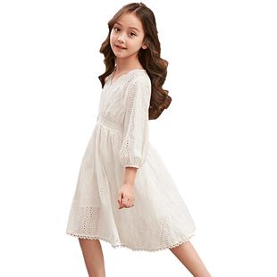 女童連衣裙兒童裙子公主裙白色2019新款中大童女孩韓版超洋氣夏裝