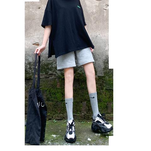 2020夏季新款灰色运动短裤女宽松休闲港风少女直筒高腰五分裤a字