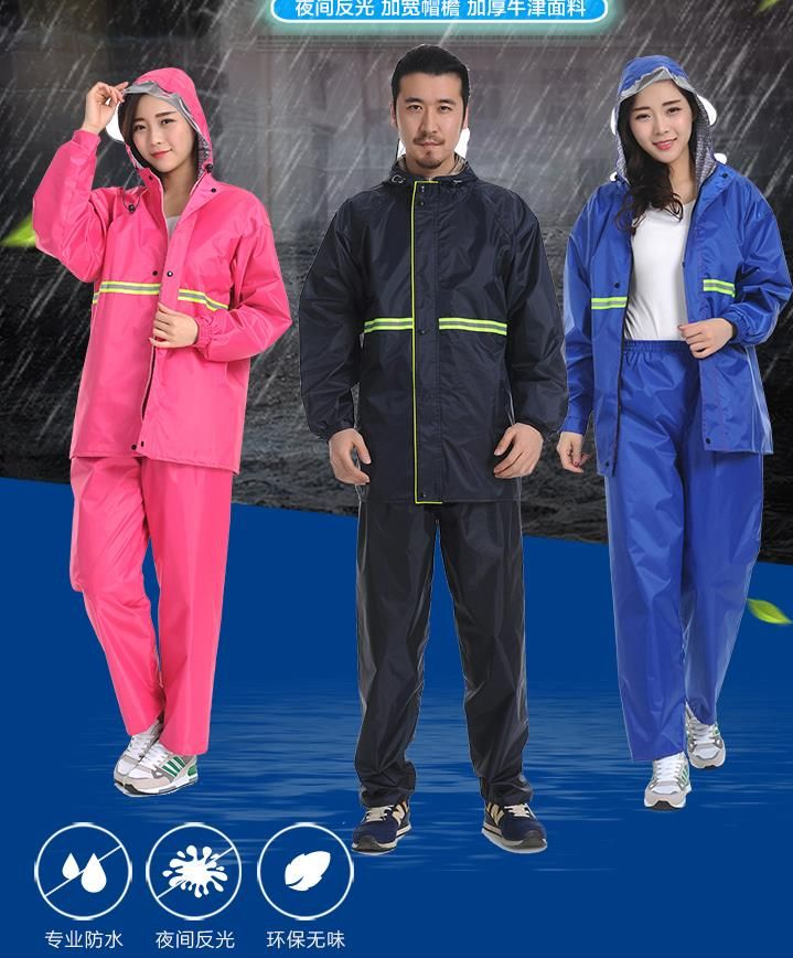 Double layer raincoat rainpants suit for men and women waterproof and breathable cycling take away two piece adult raincoat