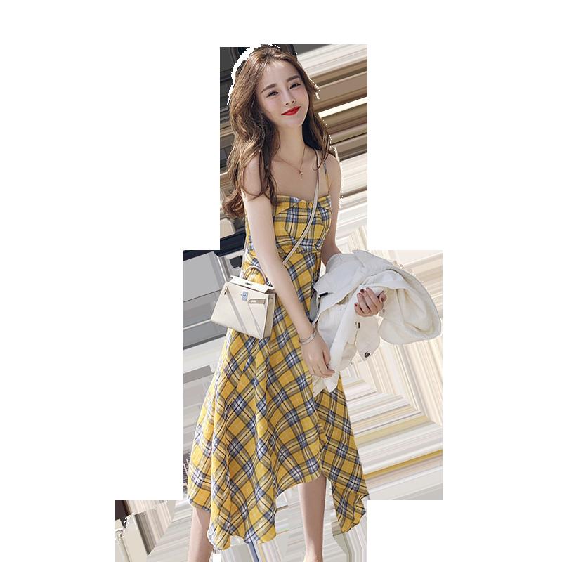 很仙的法国小众桔梗裙新款2019夏季法式格子连衣裙超仙女吊带群子