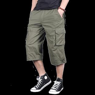 七分褲男寬鬆加大碼多口袋工裝褲男士夏季純棉短褲運動中褲7分褲