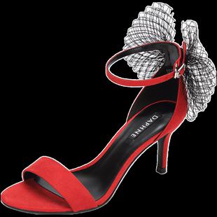 達芙妮細跟鞋2020夏新款網紗蝴蝶結包跟絨面高跟鞋 一字面涼鞋 女